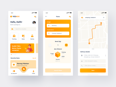 VegBox App | Exploration simple mobileweb shipping shipment map home screen yellow home logistic userinterface mobile apps uxdesign uidesign
