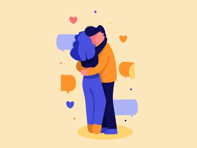Couples in love 3d feelings heart pink blue orange messenger love boy girl illustration vector