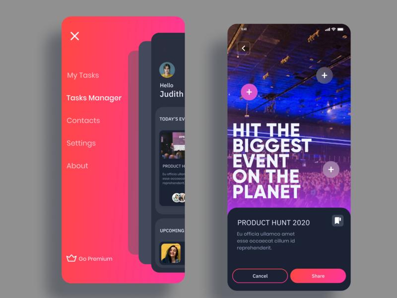 Task Manager app UI adobe xd uidesign uiux branding typography ui design ux figma design ui