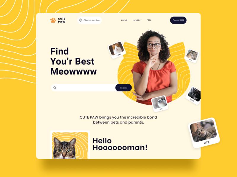 Pet adoption Web UI branding typography web photoshop uidesign ui design ux figma design ui