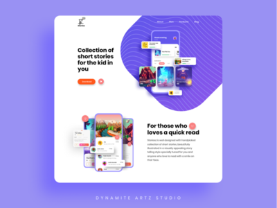 Stories app web UI design uidesign photoshop branding typography illustration ux ui design figma design ui