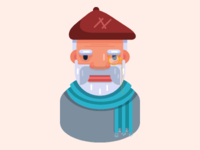 Flat vector old man character