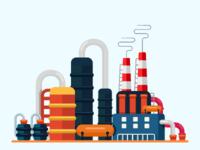 Oil Refinery flat vector illustration