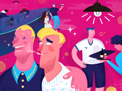 A weekend. pub. drinking characters color illustrator