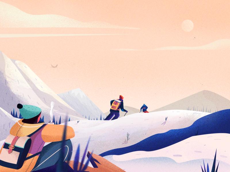 Ski illustrations snow winter illustration color