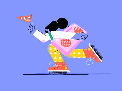 roller skating skidding blue ux animation illustration color ui application design clean