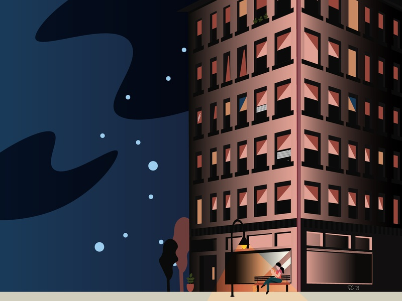 Under the Light nighttime peaceful woman illustration woman character woman portrait woman sitting night sky cat woman person city building light vector art modern illustration illustrator