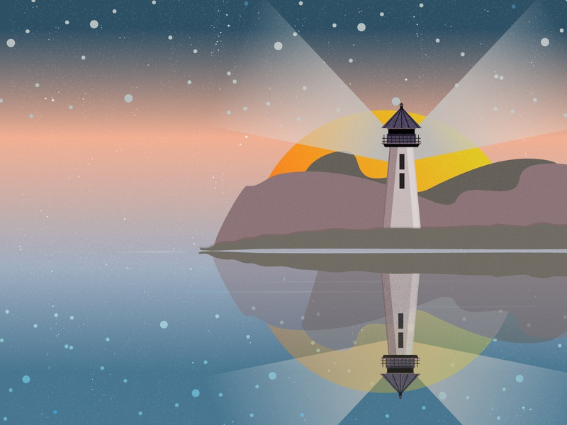 Lighthouse at Dawn adobe illustrator illustrator illustrate texture grain texture grain search lights sunset muted colors muted oceans colors sunrise dawn water lake ocean light lighthouse