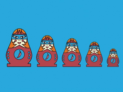 Pequenas Pero Picosas adobe illustrator color blue art illustration matryoshka nesting dolls illustrator