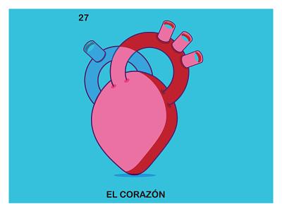 El Corazon Loteria modern illustrator love clean illustration spanish corazon loteria heart