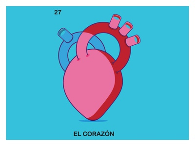 El Corazon Loteria modern illustrator love clean illustration spanish corazon loteria heart