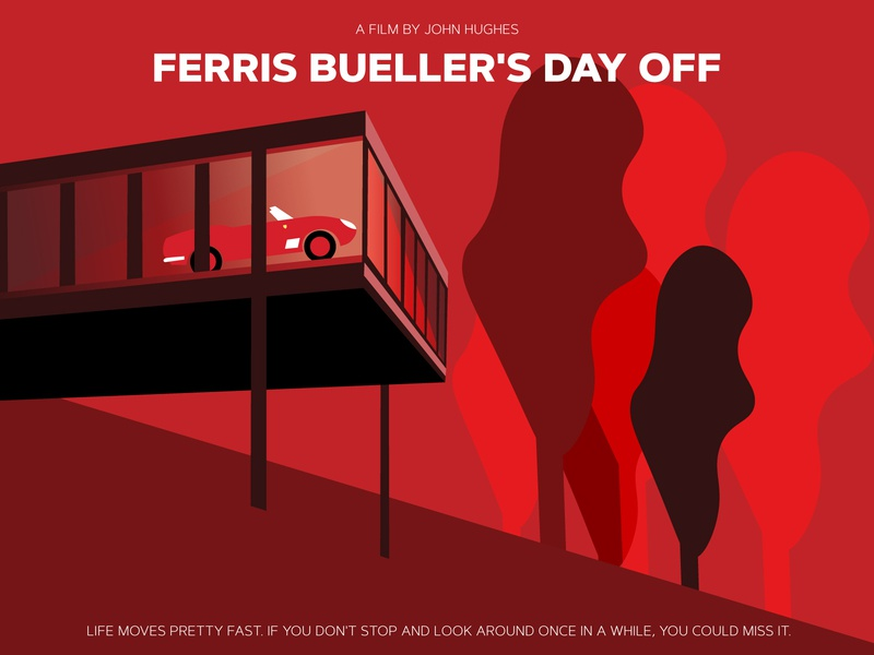 Ferris Bueller Movie Poster Art vector art vector duotones monotones duotone monotone red illustration art minimal movie art movieart poster movie poster movieposter movie ferris bueller ferris modern illustration illustrator