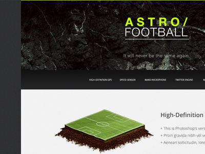 Astro Football photoshop football pitch astro content cube grass soccer under construction web