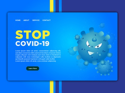 Covid-19  homepage template for website or landing page design