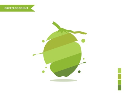 green coconut character design flat flat  design icon logo branding vector illustration