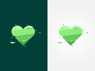 heart green minimal flat icon logo flat  design design vector illustration graphic  design