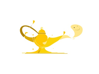 Magical lamp of Aladdin brand flat  design icon logo vector illustration graphic  design design