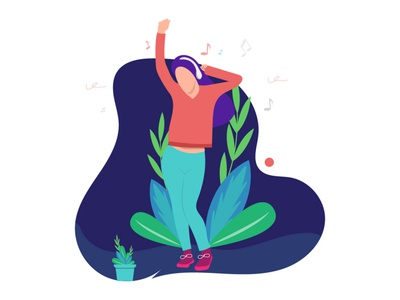 Girl listening music and dancing concept illustration web graphic girl dancing branding flat  design icon logo vector illustration graphic  design design