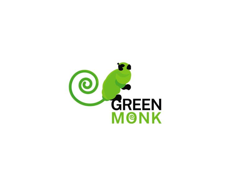 Green Monk Logo monkey logo flat web app icon design logo branding 2d green logo logo design vector