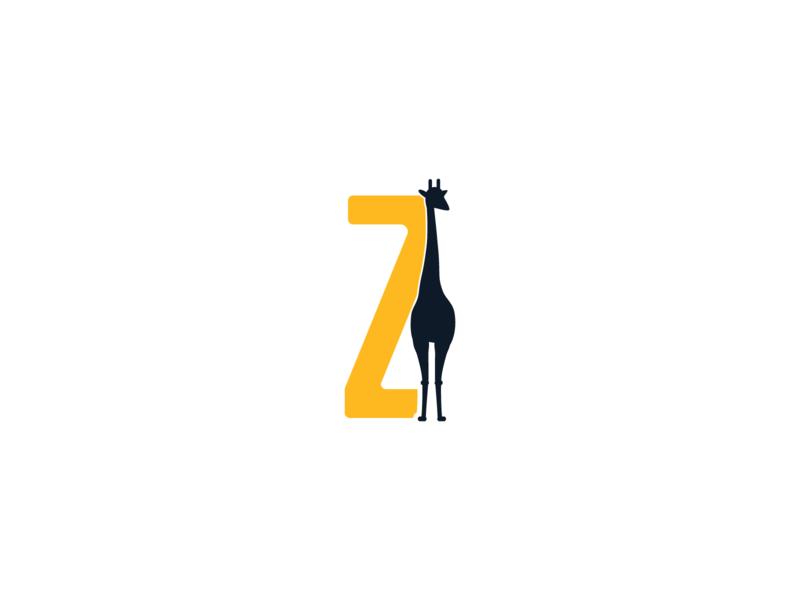 Z Lettering with Ziraff | Logo Mark 2d vector clean animal logo mark lettering shadow z letter zebra concept logo design logotype logo