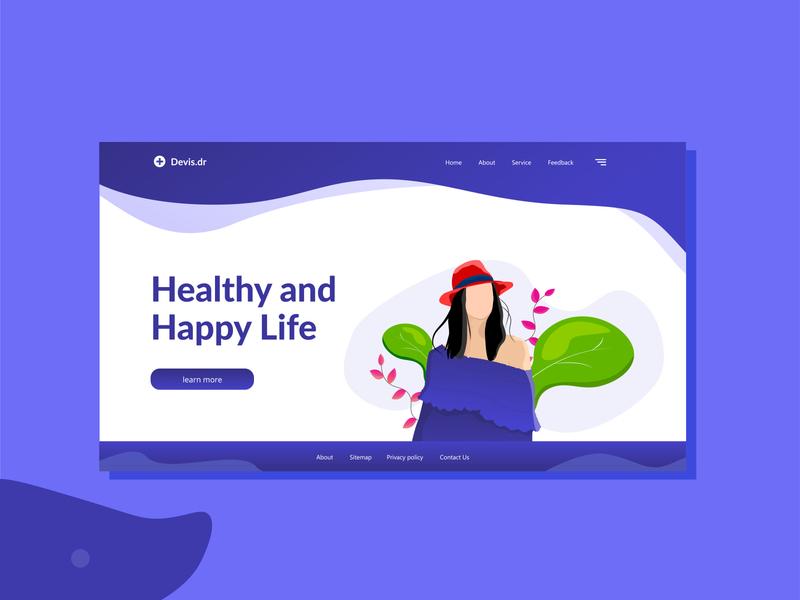 Healthy Happy Life doctor app devis.dr header design branding art design 2d illustration vector uiux clean life happy hour healthy lifestyle