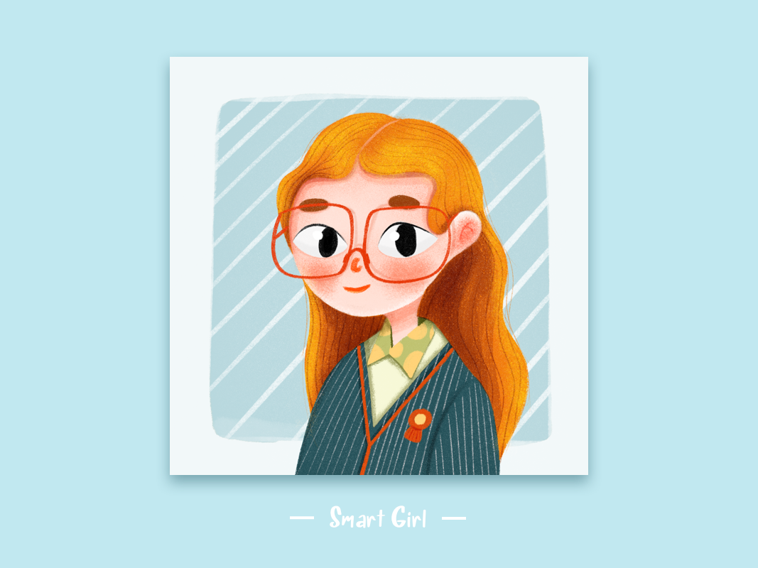 smart girl study cartoon character girl illustration
