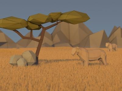 Low Poly 3D Lion in the desert paper paper craft paper art papercut lions desert sunset model 3d art tree sahara lion lowpoly 3d