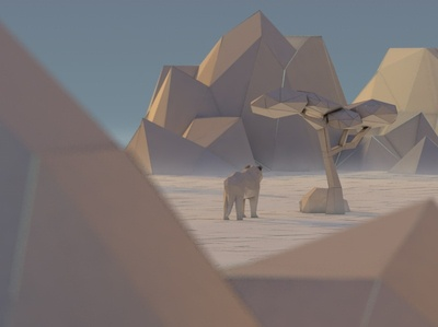 Low Poly 3D Lion in the desert