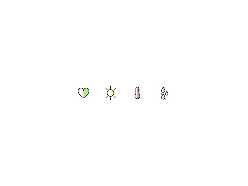 Florina Icons tree vector veggies vegan plant leaves love iconography icon set icons icon drop water temperature sun heart leaf flower flora