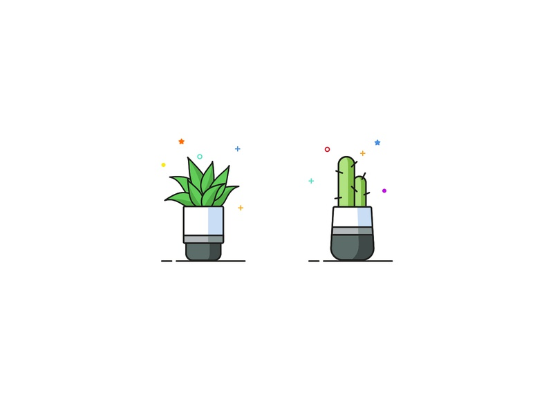 Florina Illustrations vegetable vegan veggie leaves leaf green vector plant illustration illustraion cactus lily container plant flowerpot flower