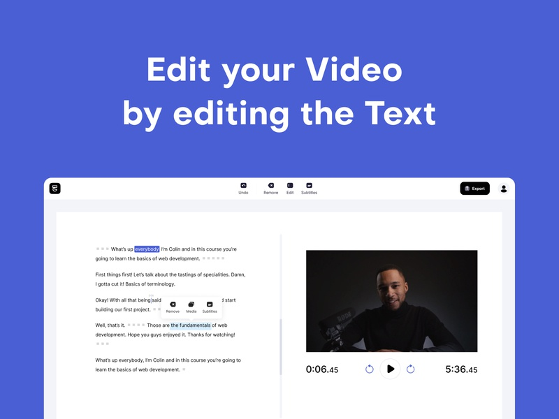 Type Studio on Product Hunt ux web interface ui video editing transcription transcript subtitle subtitles text based editing video