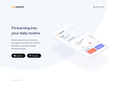Weyond Microlearning App Landingpage