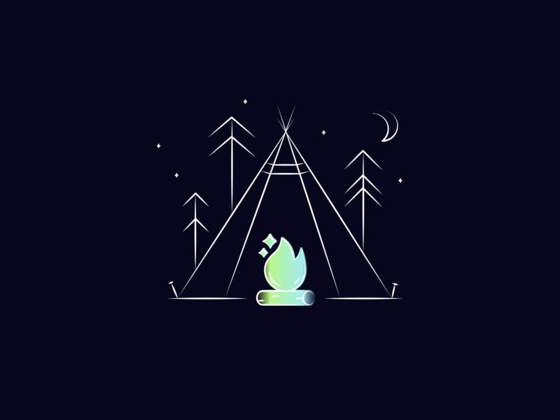 Tent Illustration for Reevo AR Autonomous Car Concept illustrator design vector concept landing page design landingpage branding illustration dark mode forest bonfire campfire tent fire