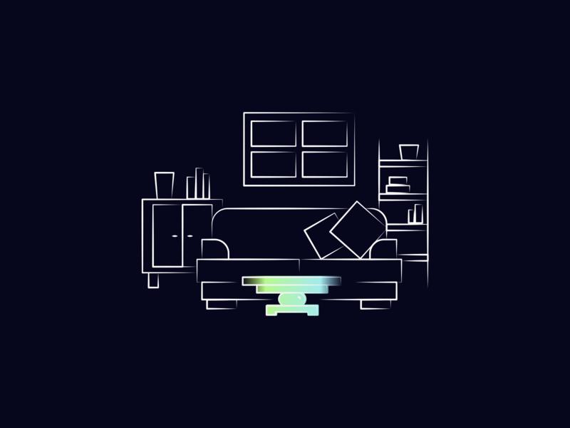 Living Room Illustration for Reevo AR Autonomous Car Concept concept design landingpage dark illustrator vector illustraion window shelf table couch livingroom