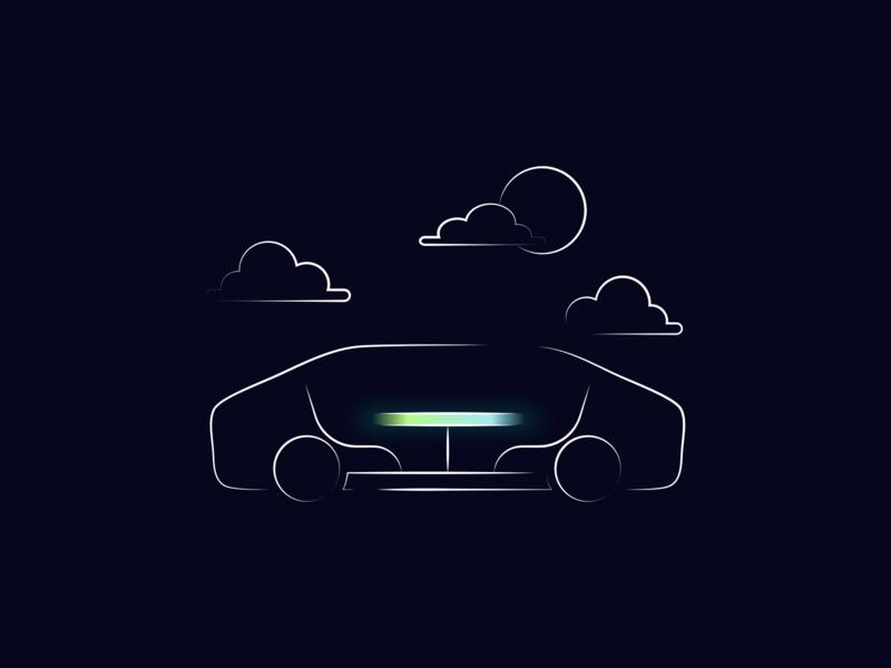 Car Illustration for Reevo AR Autonomous Car Concept line night landingpage dark concept autonomous self driving car branding vector illustration