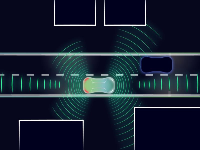 Sensor Illustration for Reevo AR Autonomous Car landingpage line branding dark street driving lidar sensor self-driving autonomous car vector illustration