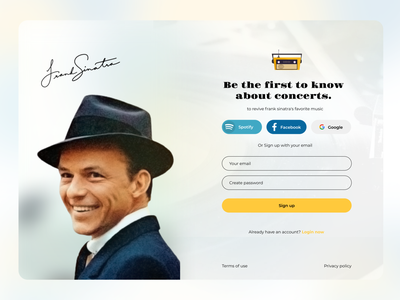 Daily ui challenger 001 - Frank Sinatra sign up concert jazz concert music concert daily ui challenge daily ui 001 daily ui dailyui