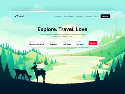 Travel Web Animation Concept interaction animal rigging travel landing page trip planner holiday vacation holiday app uiux travel travel website travel guide booking order motion graphics aftereffects illustration design after effects 2d animation ui motion animation
