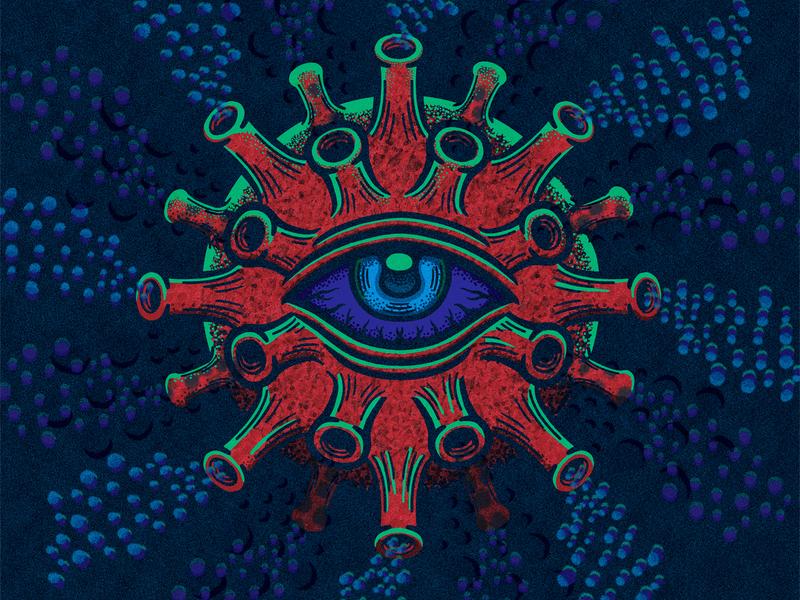The 19th Eye of Covid monster infection virus illustration coronavirus
