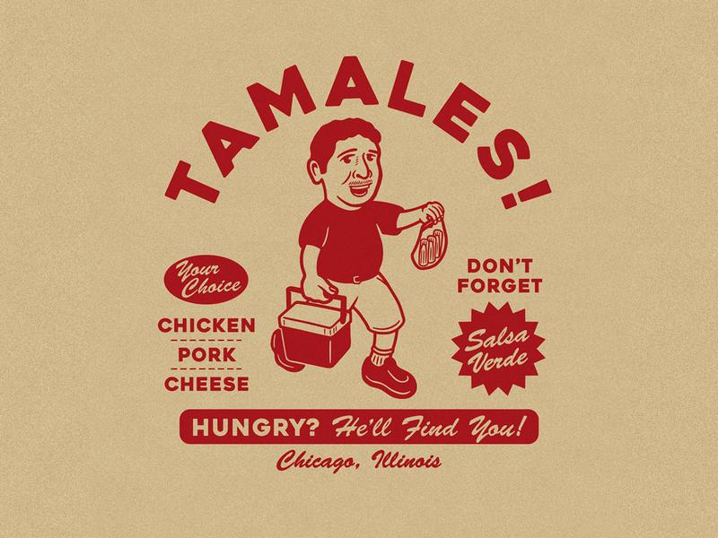 Tamales! Tamales! illustration menu vintage food