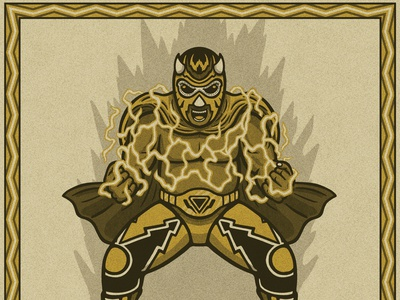 Wonderboy lightning wrestler lucha luchador illustration