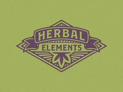 Herbal Elements Logo marijuana stamp vintage