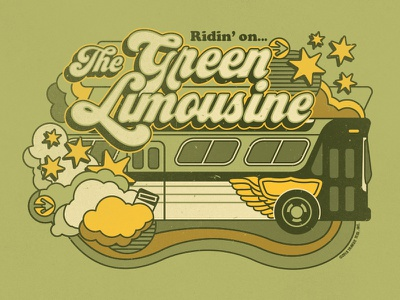 The Green Limousine civic transportation transit vintage old school funky groovy retro bus chicago limousine green
