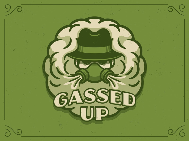 Gassed Up stoner oil branding logo vape weed mask gas smoke gassed up