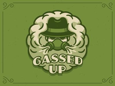 Gassed Up stoner oil branding logo vape weed mask gas smoke gassed up