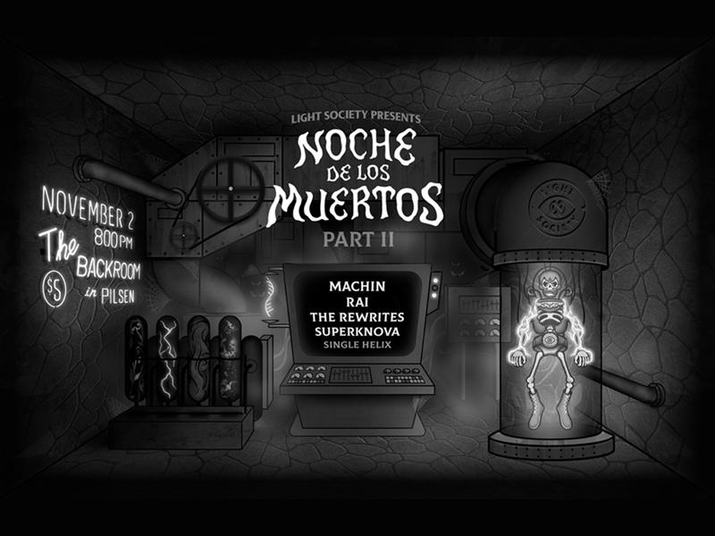 Noche de los Muertos Pt. II skeleton monster creepy mad science illustration spooky poster gig poster dia de los muertos noche de los muertos