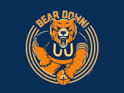Bear Down retro mascot sports football da bears chicago down bear