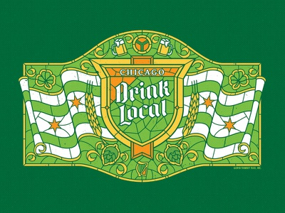 Drink Local Stained Glass flag stained glass irish beer chicago st. patricks day local drink