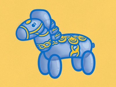 Dala Horse Balloon animal andersonville chicago swedish illustration balloon dala horse
