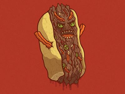 Killer Italian Beef chicago food illustration monster creature character beef italian beef